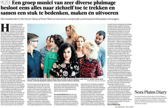 The Secret Diary of Nora Plain - interview - de Volkskrant - 10-11-2017